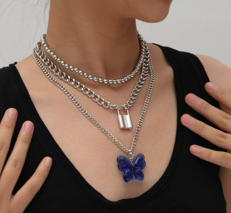 Jewelry temperament mix and match lock-shaped necklace female exaggerated large butterfly blue pendant necklace
