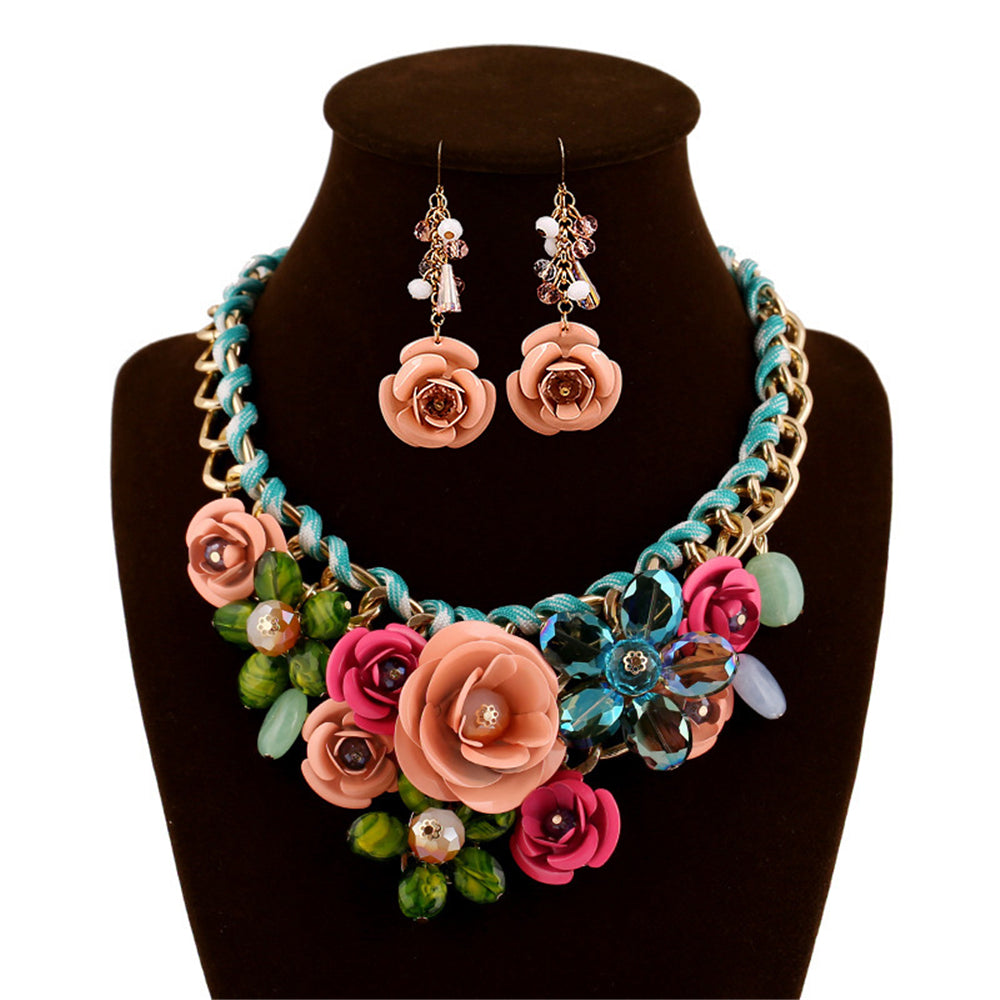 Flower  Female Clavicle Chain banquet bride  Earring Necklace Set