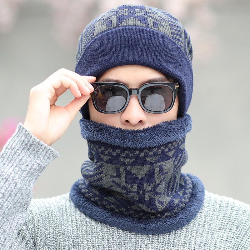 Men's knitted hat,  winter plus velvet thick woolen hat, cold-proof hat, bib set, outdoor cycling hat