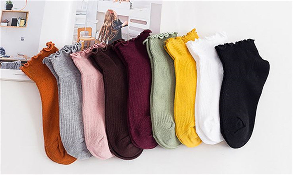 Cotton  color wooden ear boat socks fashion short  women's socks