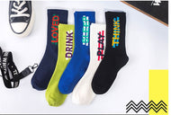 Rap socks street hip-hop sport socks letter cotton middle tube men