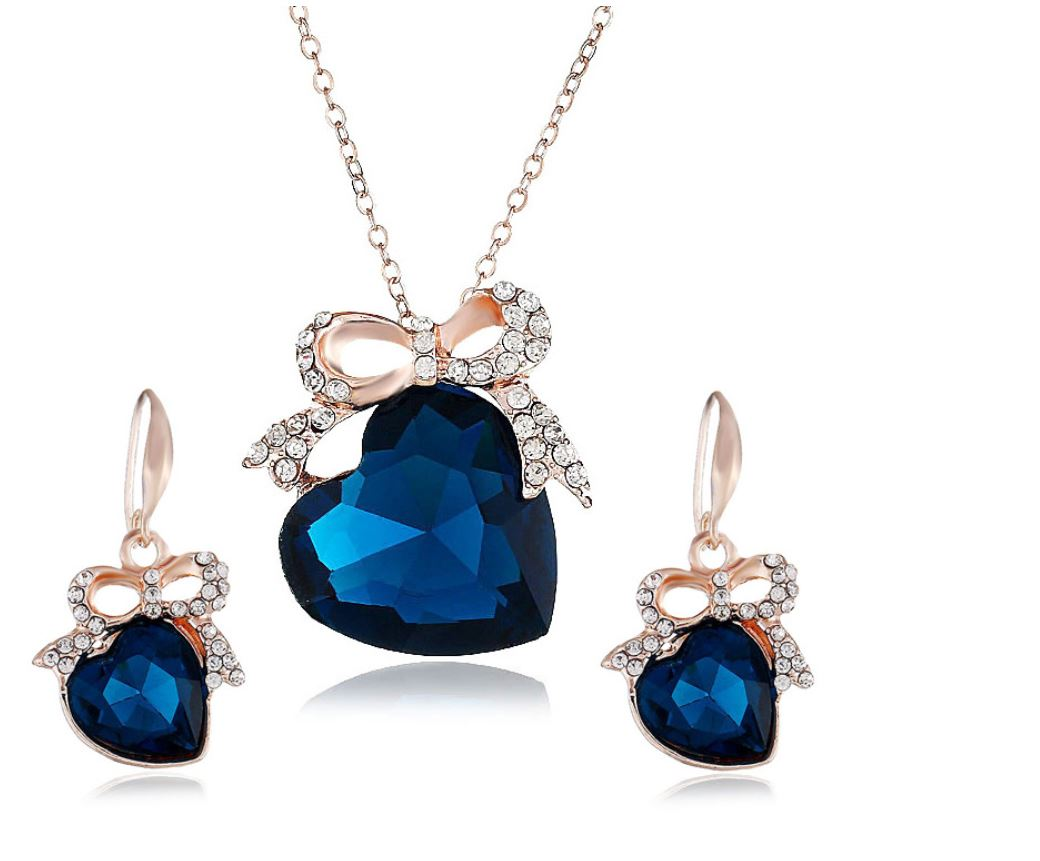Heart of the Sea Earrings Necklace Set Accessories Dark Blue Crystal Jewelry