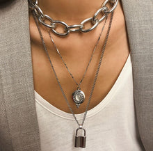 Load image into Gallery viewer, Jewelry Exaggerated metal punk chain necklace women's simple lock-shaped multi-layer long necklace with rhinestones