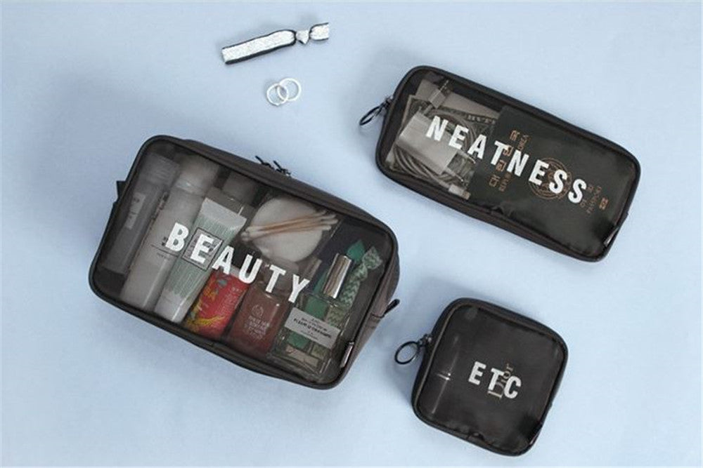 Travel mesh breathable women lady's hand cosmetic bag toilet bag
