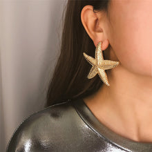 Load image into Gallery viewer, Simple earrings female personality three-dimensional starfish