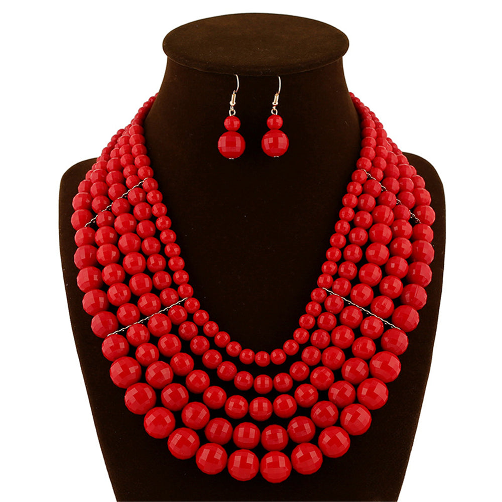 Jewelry set necklace earrings two-piece fashion  bridal jewelry red