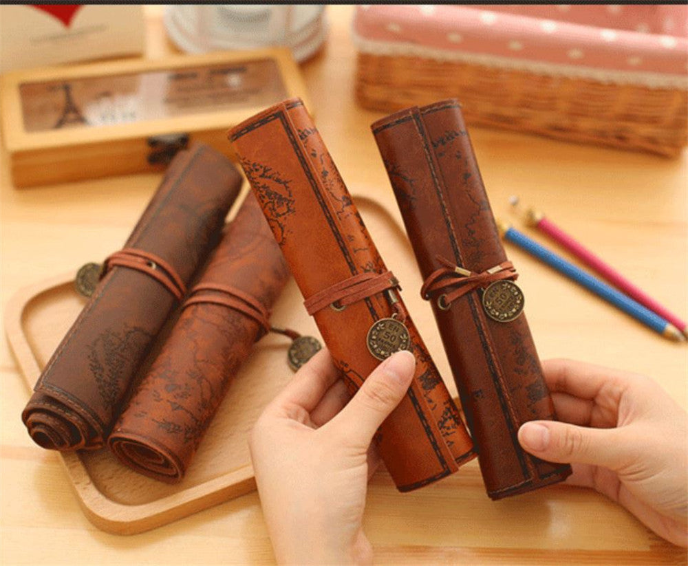 Treasure Map Retro Canvas Leather Large-capacity  Pencil bag Roll