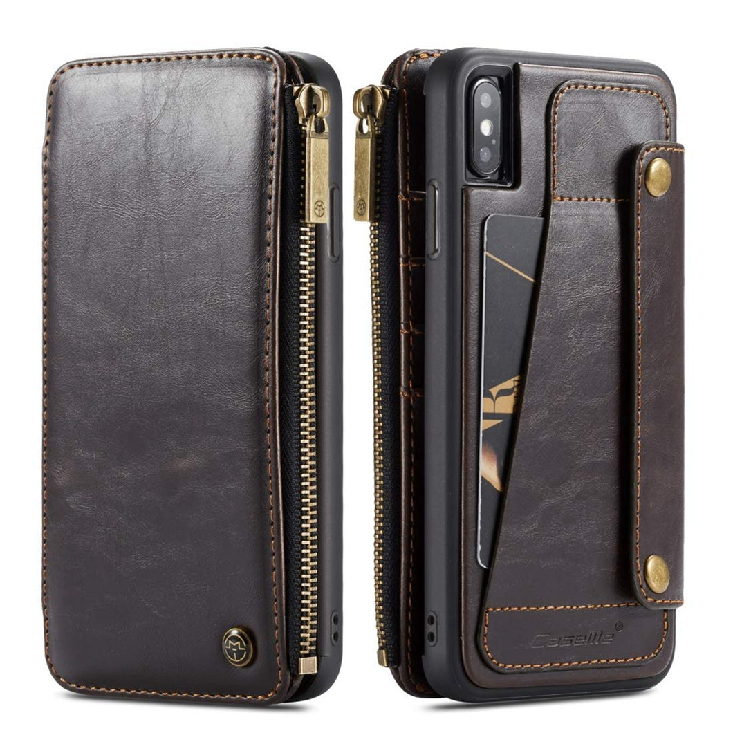 Case wallet with card slots Flip Zipper Wallet leather with  detachable 2 in 1 for iphone