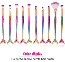 Load image into Gallery viewer, 10Pcs Mermaid face Makeup Brush Set Professional Eye Makeup Brushes
