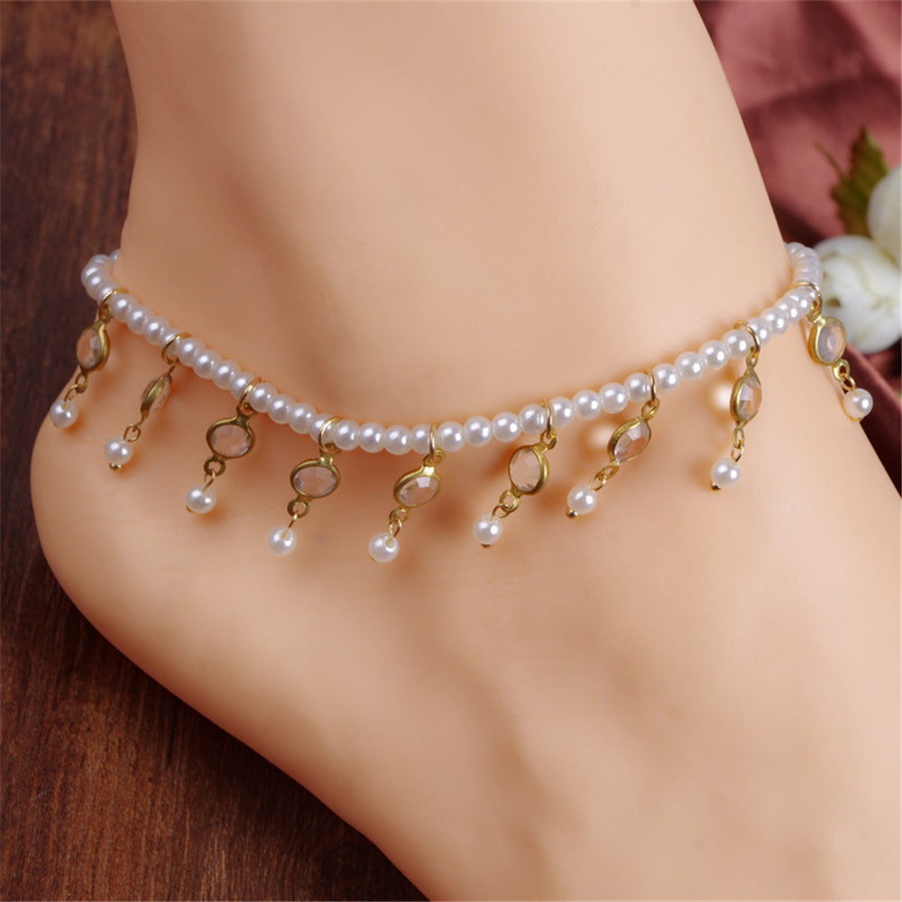 Simple retro beach foot ornament  pearl bead crystal Anklet Chain