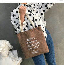 Load image into Gallery viewer, Art canvas bag fresh women's hemp rope shoulder bag simple handbag