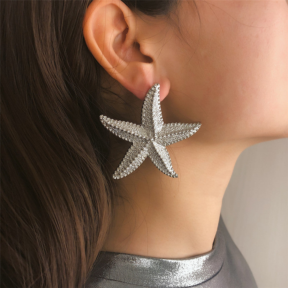 Simple earrings female personality three-dimensional starfish