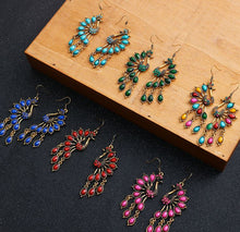 Load image into Gallery viewer, Retro Peacock Hollow Long Earrings Personality Earrings Rhinestone Alloy Earrings
