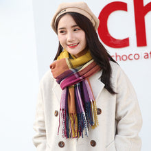 Load image into Gallery viewer, Winter cashmere checkered scarf classic unisex windproof warm