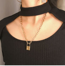 Load image into Gallery viewer, Personality retro geometric necklace sweater chain female simple lock shape wild temperament necklace
