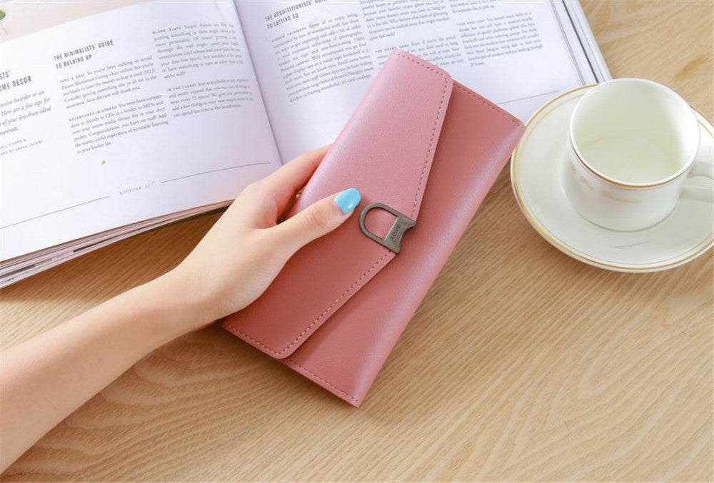 Hot-selling new ladies wallet long buckle simple multi-card female coin purse
