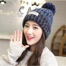Load image into Gallery viewer, Winter cute fur ball warm hat fashion woolen hat mixed color ladies knitted hat