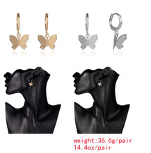 Load image into Gallery viewer, Temperament curved earrings female simple hollow butterfly outline geometric earrings