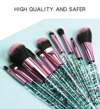 Load image into Gallery viewer, Makeup brushes set shiny crystalc cosmetic brush beauty tool 10 pieces