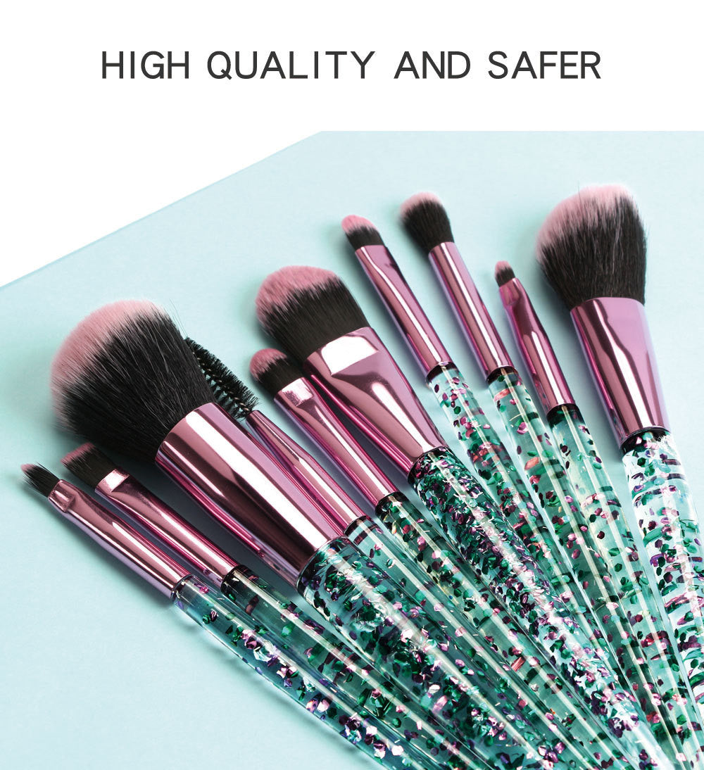 Makeup brushes set shiny crystalc cosmetic brush beauty tool 10 pieces