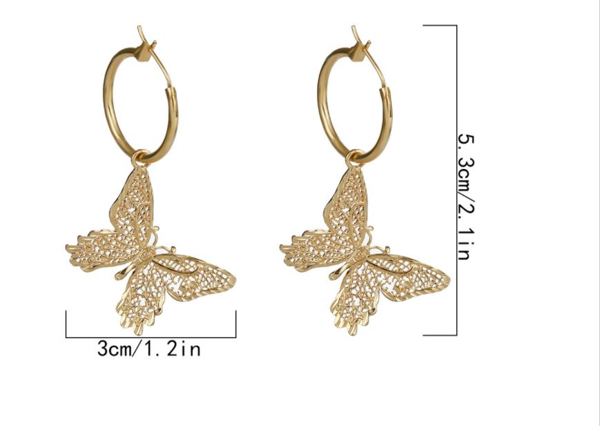 Temperament curved earrings female simple hollow butterfly outline geometric earrings