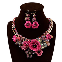 Load image into Gallery viewer, Flower  Female Clavicle Chain banquet bride  Earring Necklace Set