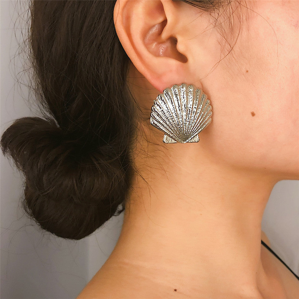 Popular all-match simple earrings fashion frosted shell earrings