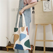 Load image into Gallery viewer, Fashion art shopping  one-shoulder cotton portable canvas bag