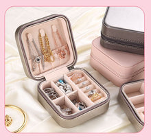 Load image into Gallery viewer, Portable jewelry storage box earrings earrings ring jewelry box zipper jewelry box pu leather