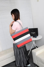 Load image into Gallery viewer, Fashion canvas bag stripe casual shoulder women's bag large capacity
