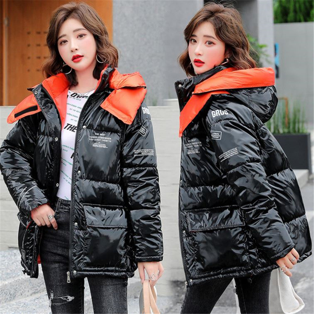 Bright down cotton coat women's winter clothes new style women's padded coat
