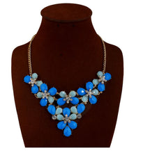 Load image into Gallery viewer, Fashion style accessories personality exaggerated rhinestone short banquet party blue flower necklace jewelry