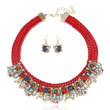 Load image into Gallery viewer, Luxury alloy inlaid gemstone flower lady necklace earring set