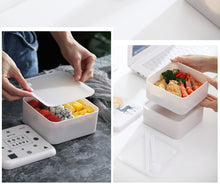 Load image into Gallery viewer, Nordic style double-layer plastic lunch box with tableware and microwave oven student lunch box