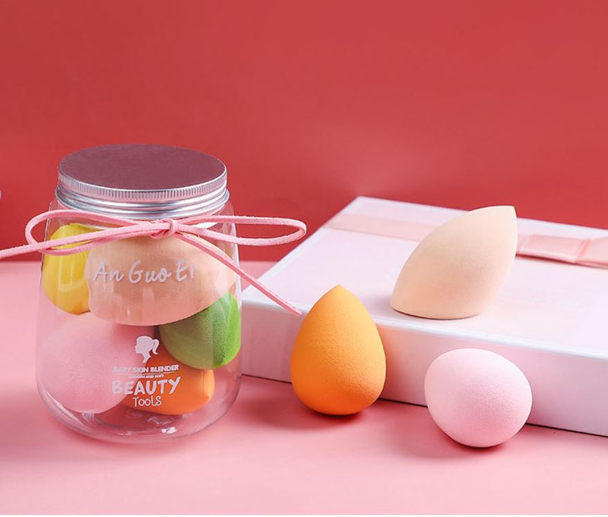 Super soft 5pcs beauty makeup egg  shape puff non-latex makeup puff