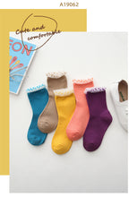 Load image into Gallery viewer, 5 pairs of girls' socks,2-12years old cotton cartoon colorful