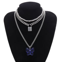 Load image into Gallery viewer, Jewelry temperament mix and match lock-shaped necklace female exaggerated large butterfly blue pendant necklace