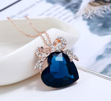 Load image into Gallery viewer, Heart of the Sea Earrings Necklace Set Accessories Dark Blue Crystal Jewelry