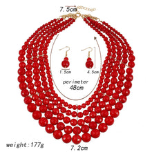 Load image into Gallery viewer, Jewelry set necklace earrings two-piece fashion  bridal jewelry red