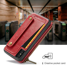 Load image into Gallery viewer, Case wallet with card slots Flip Zipper Wallet leather with  detachable 2 in 1 for iphone