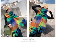 Load image into Gallery viewer, Color thick winter warm scarf windproof and soft