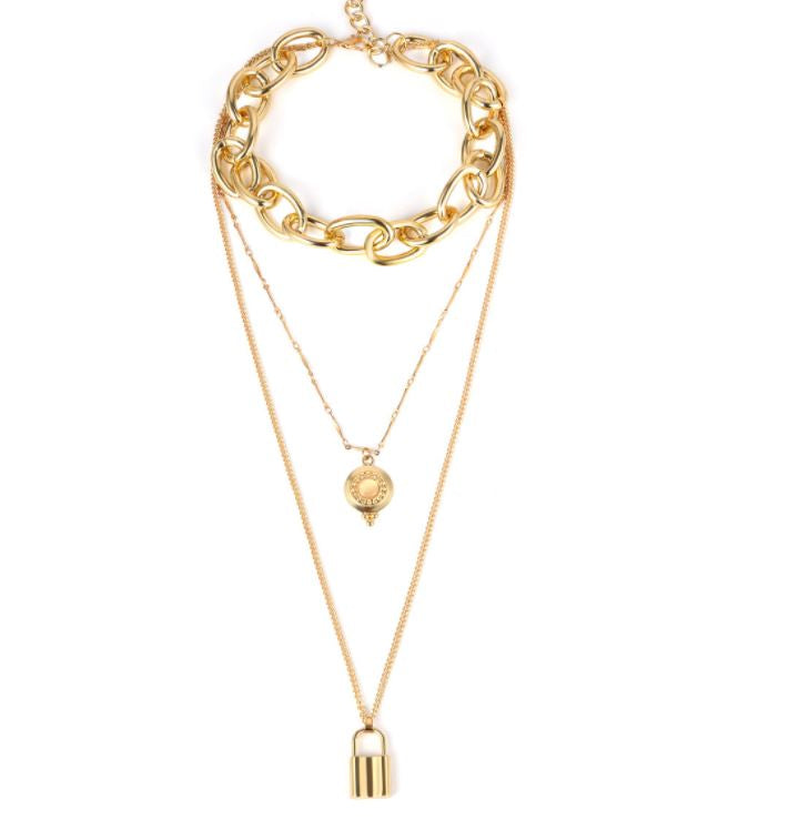 Jewelry Exaggerated metal punk chain necklace women's simple lock-shaped multi-layer long necklace with rhinestones