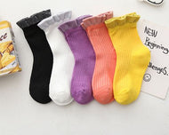 5 pairs of girls' socks,2-12years old cotton cartoon colorful