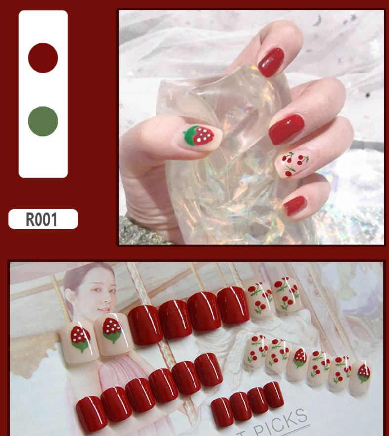 Finished fake nails, nail pieces, nail pieces, 24 pieces,waterproof