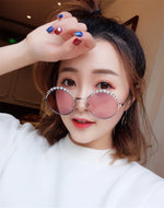 New metal fashion personality trend round pearl sunglasses