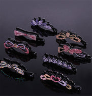 Headdress rhinestone hairpin banana clip fashion  ponytail clip vertical clip simple buckle clip hair accessory