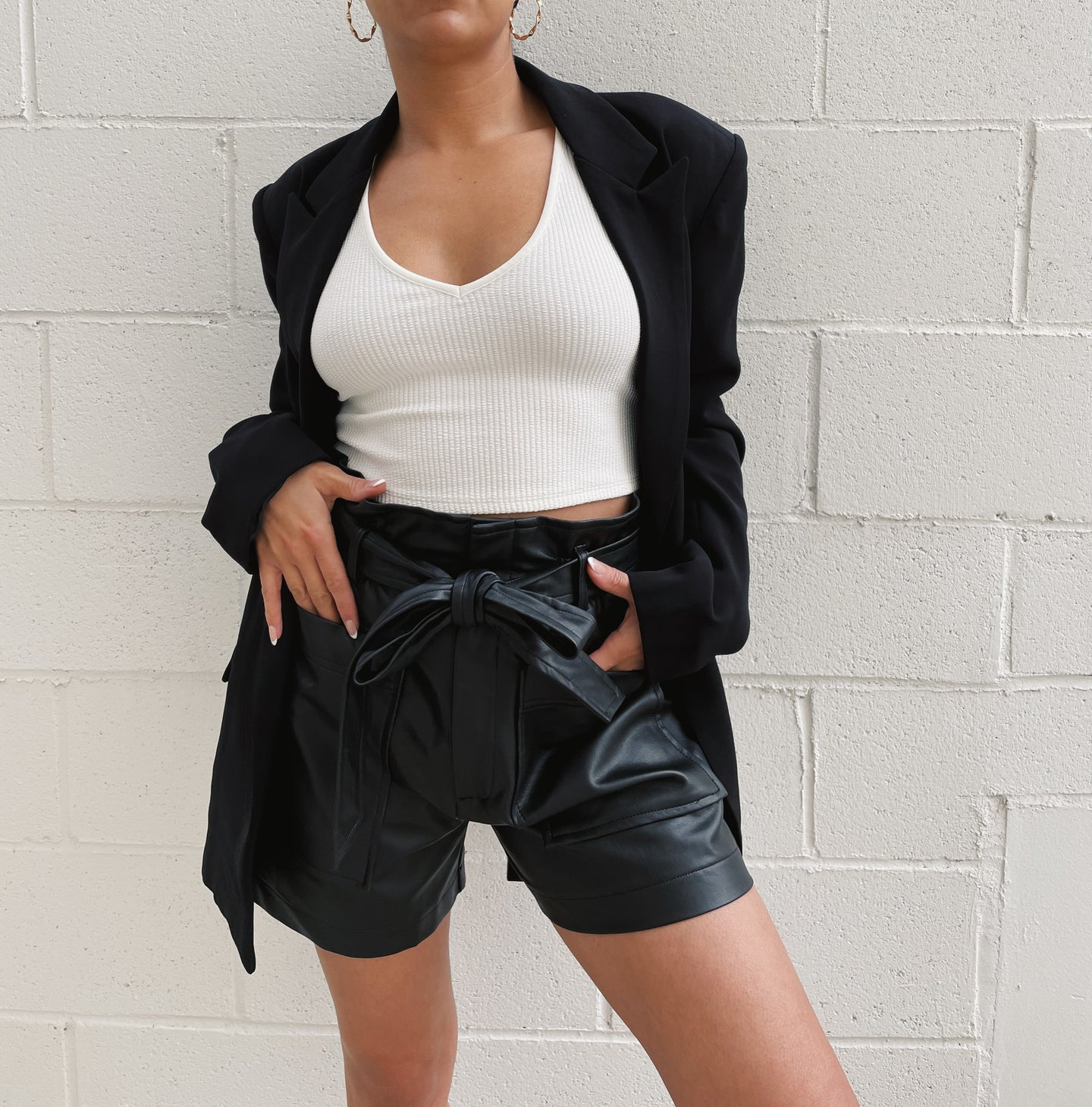 Faux Leather High Waist Short