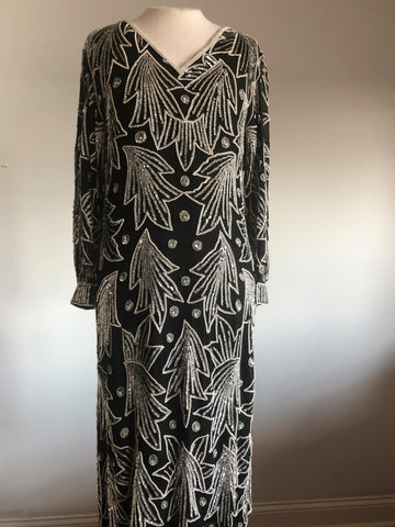 100% Silk, Stunning Formal, dress, incredible beading & sequins, Sz. Med