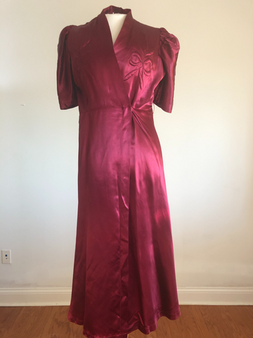 1930's Glam Satin Robe, Sz. Sm/Md.