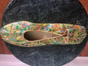 Shoe, Formal, Gold Lame slipper, 1960's